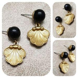 Dangling Gold Seashells Earrings